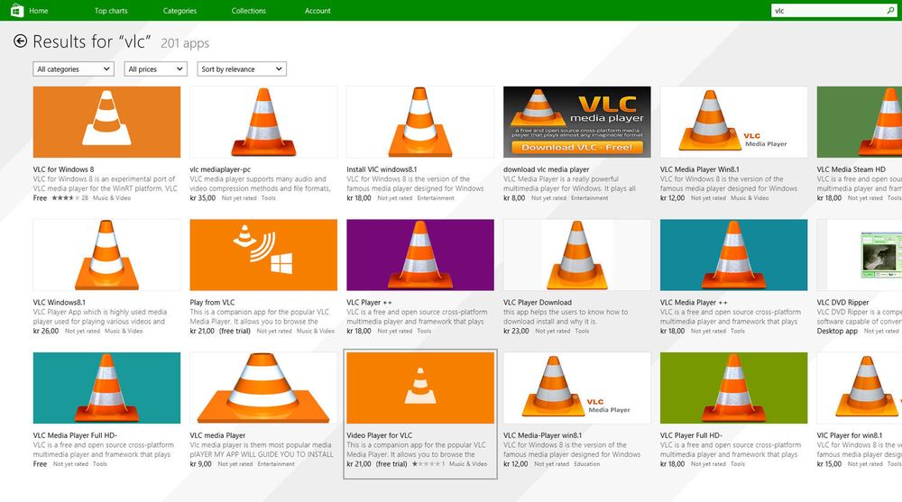 Resultatene av et søk etter VLC i Windows Store presenterer en rekke eksempler på forsøk på å lure penger fra uvitende brukere.