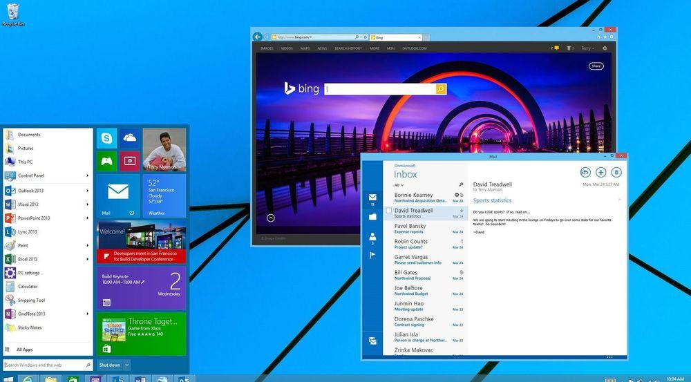 Microsoft viste fram dette Windows-skrivebordet under Build-konferansen i april i år. Det viser blant annet en ny startmeny og en Modern UI-applikasjon som kjøres i et tradisjonelt desktop-vindu. Mye kan dog har endret seg siden denne sniktitten.