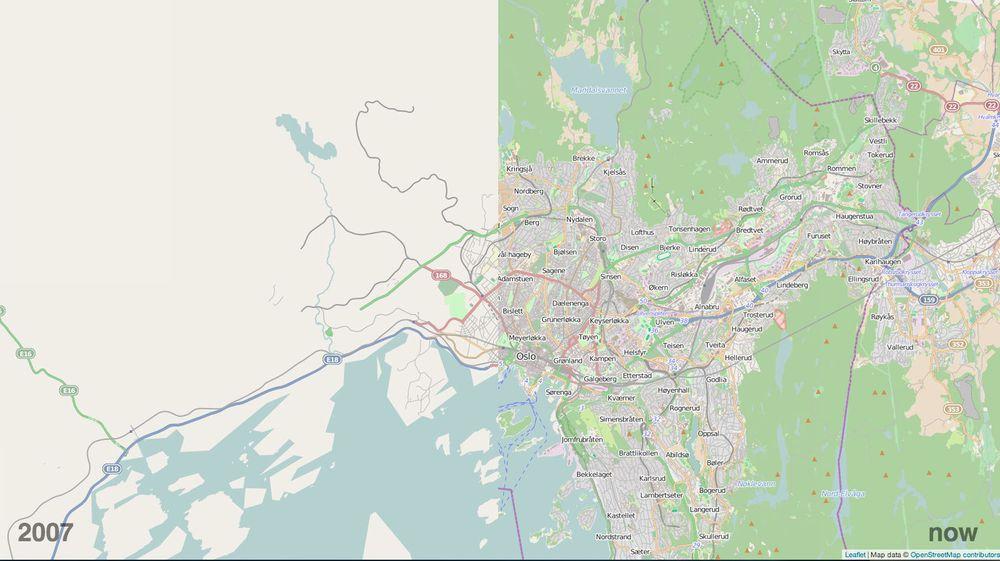 SETTER NORGE OG VERDEN PÅ KARTET: Forskjellen på kartgrunnlaget i dugnadsprosjektet OpenStreetMap er dramatisk når vi sammenligner 2007 til venstre i bildet og nå-situasjonen til høyre. Se lenke lenger ned i saken til interaktive kart der du kan panorere og zoome inn og ut.
