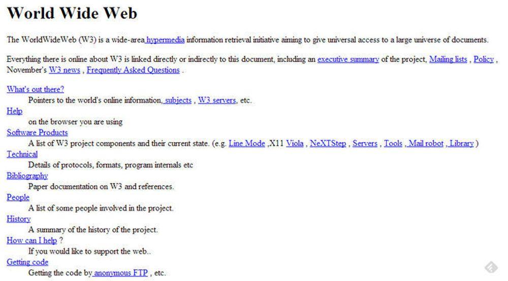 Verdens første nettsted, slik det så ut i 1992. Nå er siden igjen tilgjengelig med samme URL som den gang.