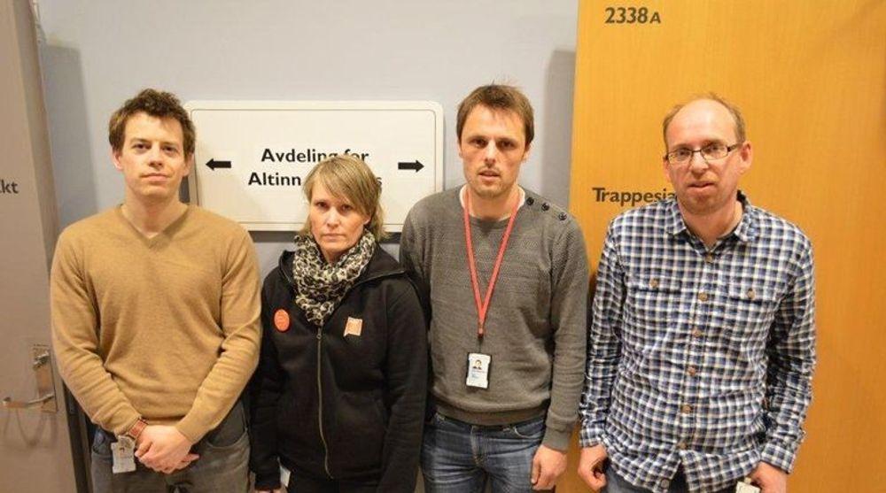 Fragforeningene i Brønnøysundregistrene advarer mot regjeringens digitaliseringsplaner. F.v. Lars Eliassen, Berit Vikrem, Kjetil Mathisen og Bjørn Grøva.