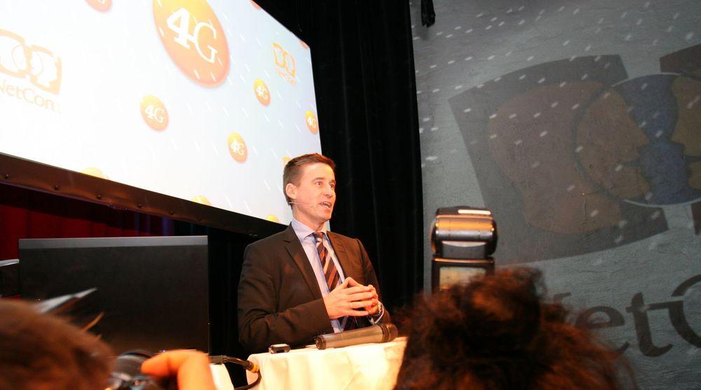 Først nå blir det mulig å surfe i 4G-hastighet direkte fra mobiltelefonen med Netcom. Bildet er fra lanseringen av det nye mobilnettet deres allerede i desember 2009. August Baumann (bildet) er fortsatt Netcom-direktør, men selskapet har byttet logo siden den gangen.