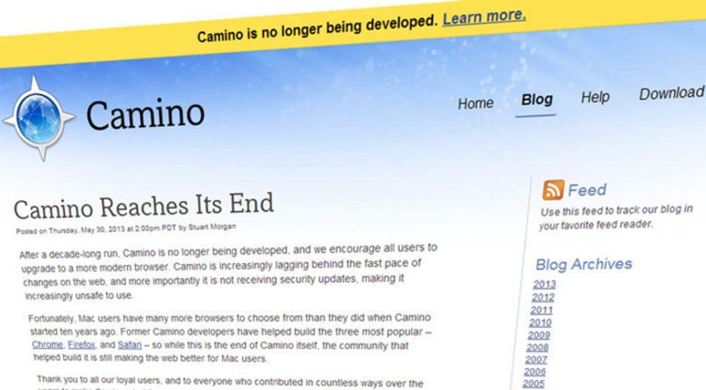 Over og ut for Camino, et av flere åpen kildekode-prosjekt som har bidratt til å gjøre weben til en enda litt bedre opplevelse.