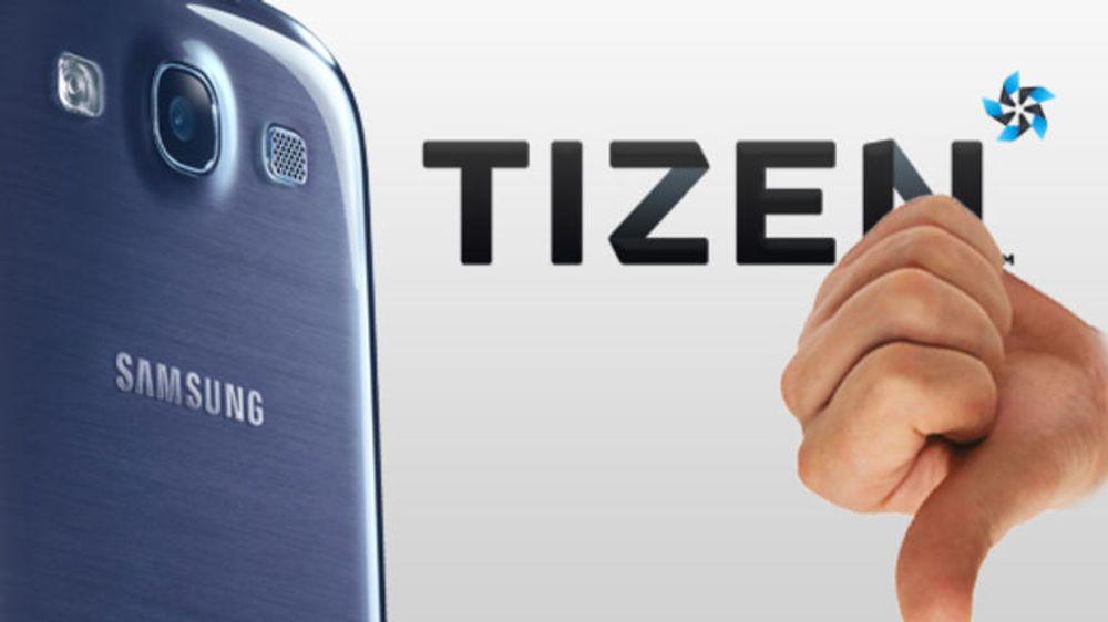 Flere observatører tror det kan dukke opp Tizen-baserte smarttelefoner på Mobile World Congress i Barcelona neste måned, men plattformen har nå mistet en sterk støttespiller etter at NTT DoCoMo legger planene sine på hylla. (Bildet er av en tenkt Samsung-modell med Tizen som ennå ikke har dukket opp).