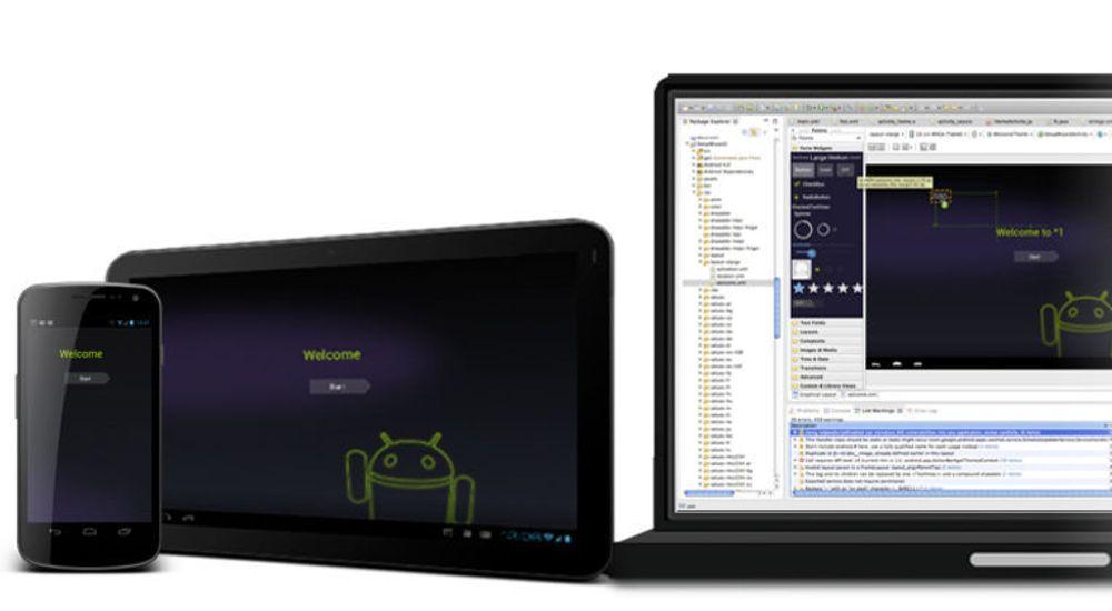 Det er mange faktorer som spiller inn på tiden det tar å lage mobilapplikasjoner. Gode utviklerverktøy er blant disse. Bildet viser Android Developer Tools for Eclipse.
