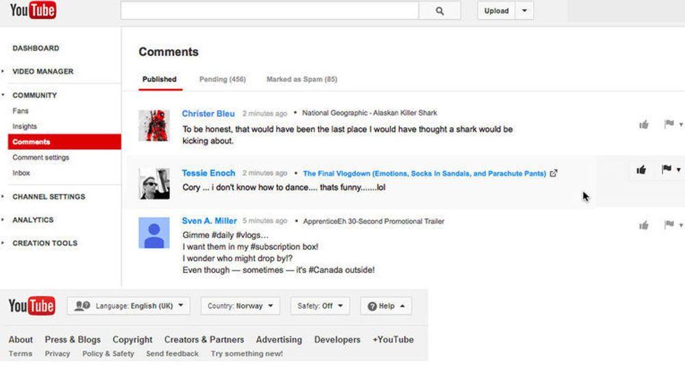 Den nye kommentarsiden til YouTube skal gjøre det enklere for brukerne å administrere egne og andres kommentarer.