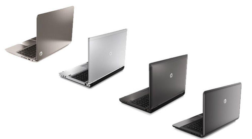 """HP kan ikke lengre smykke seg med tittelen """"Verdens Største PC-produsent."""" Takket være sterkt salg gikk Lenovo forbi i et svært trådt marked. Bildet viser flere HP-modeller som ble lansert i fjor - som var et uår for PC-industrien."""