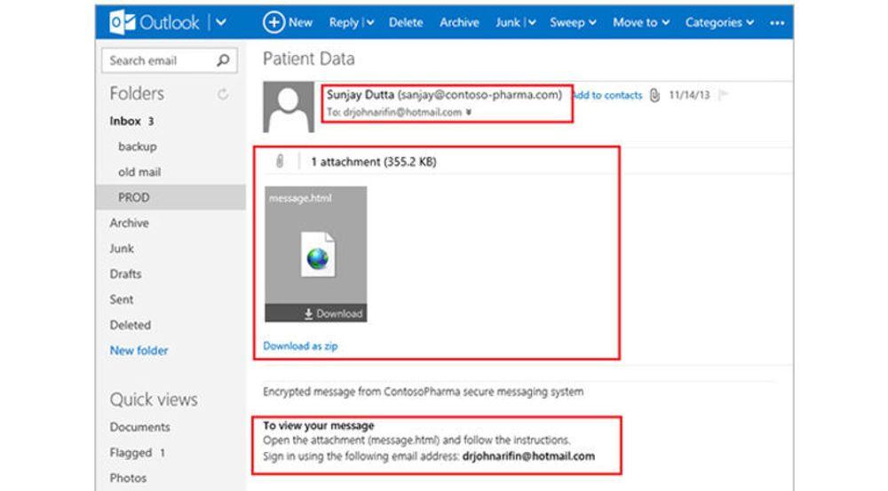 Office 365 Message Encryption gjør det mulig å sende krypterte meldinger til alle e-postadresser, men selve meldingene må åpnes i et eget webgrensesnitt som Microsoft tilbyr.