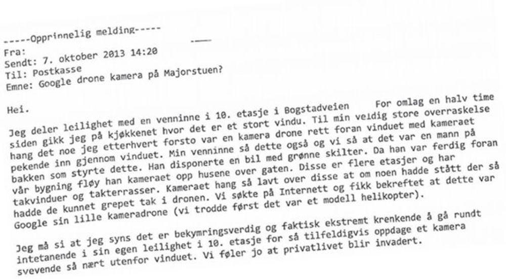 KLAGE TIL DATATILSYNET: Kvinnen føler seg krenket etter å ha oppdaget en drone utenfor vinduet sitt sentralt i Oslo.