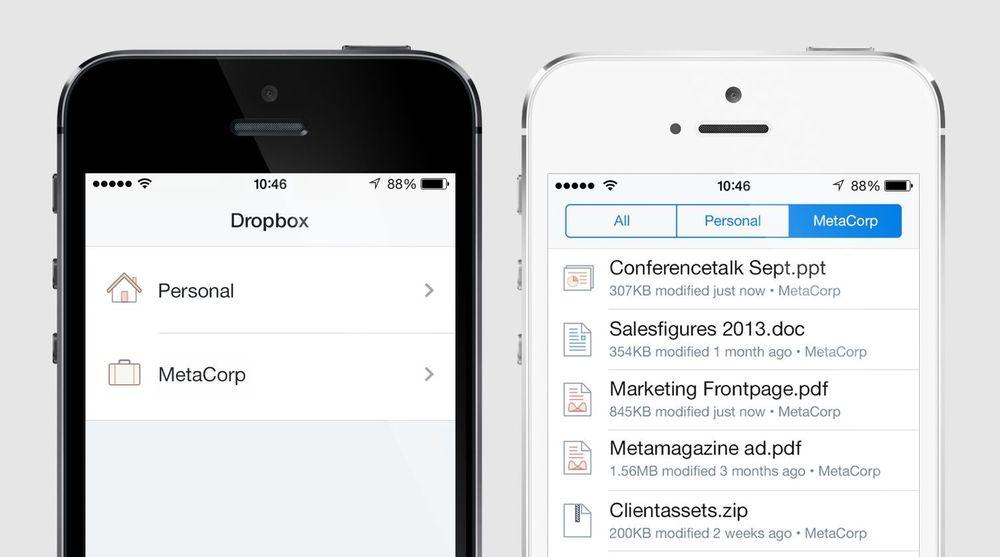 Dropbox lover å tilby en tjeneste som lar deg lett skille mellom jobb og privat. Åpenbart ønsker de å få flere av sine 200 millioner brukere til å få jobben som  betalende kunder.