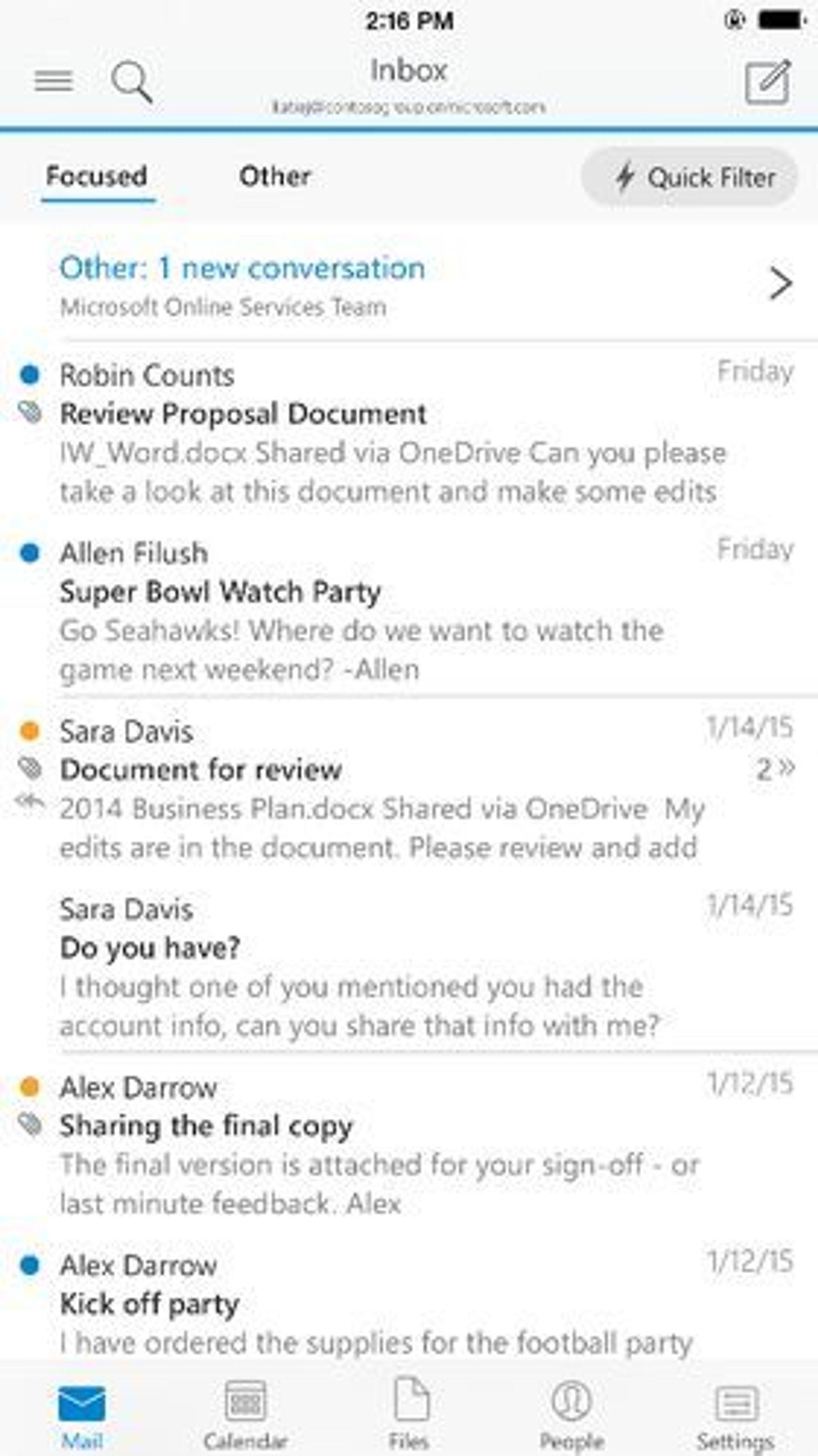 Innboken i Outlook for Android og iOS er delt i to ulike faner, hvor de viktigste meldingene kan skilles ut fra de mindre viktige.