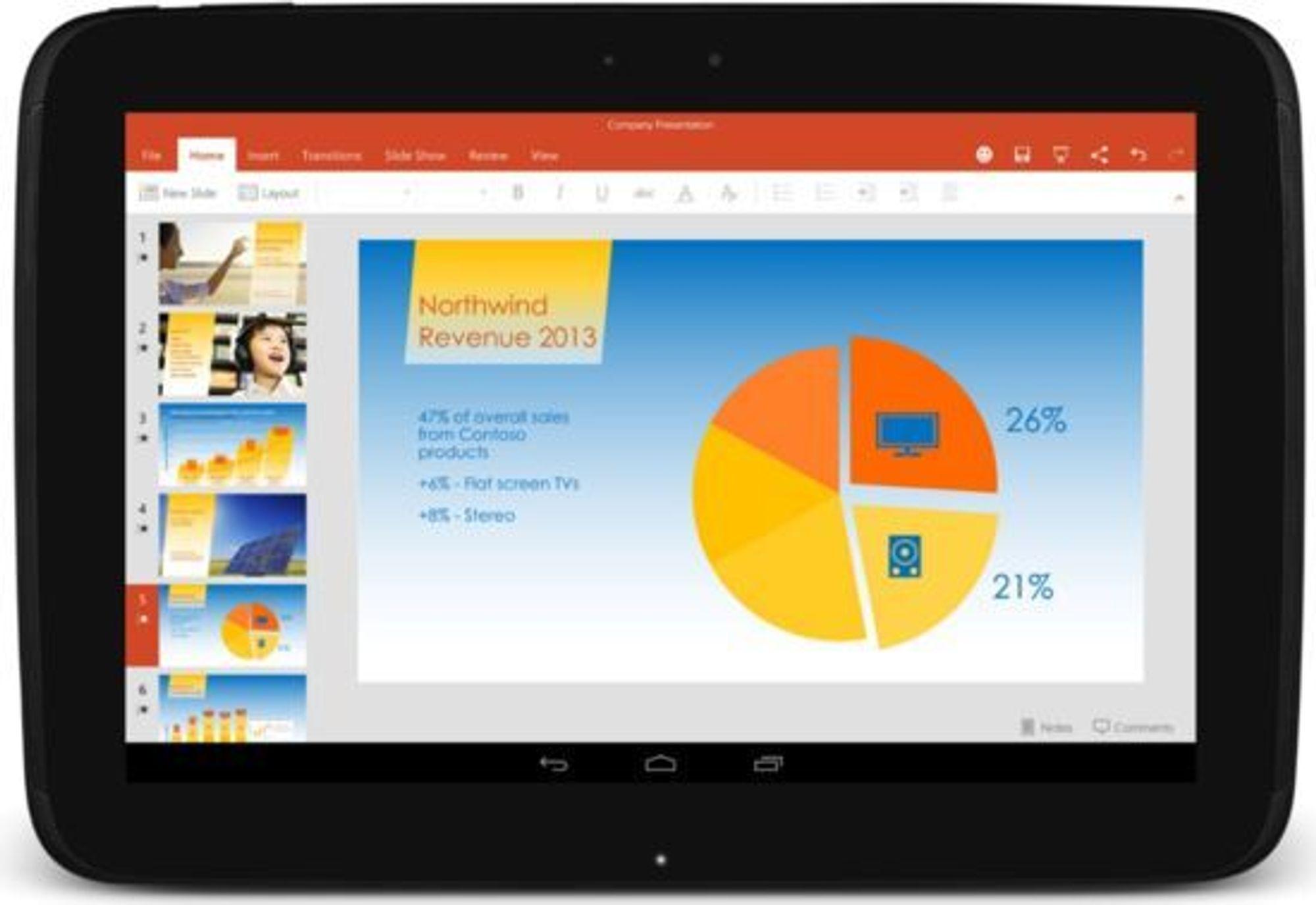 PowerPoint er blant Microsoft Office-appene som nå er tilgjengelige for Android-nettbrett.
