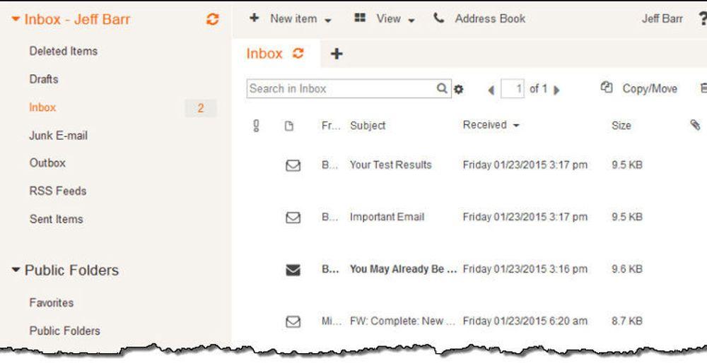 Amazon Workmail kommer med en webgrensesnitt, men kan også brukes i trasjonelle e-postkklienter som Outlook.