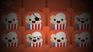 Popcorn-pirater på kino. Illustrasjon for Popcorn Time.