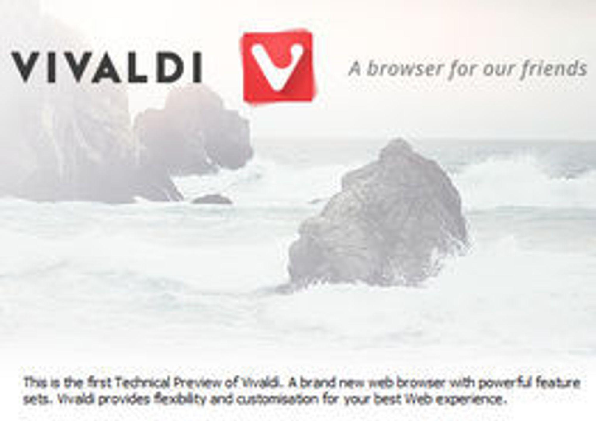 Vivaldi er en nettleser for våre venner, er slagordet deres. Her ser vi også nettleser-logoen.