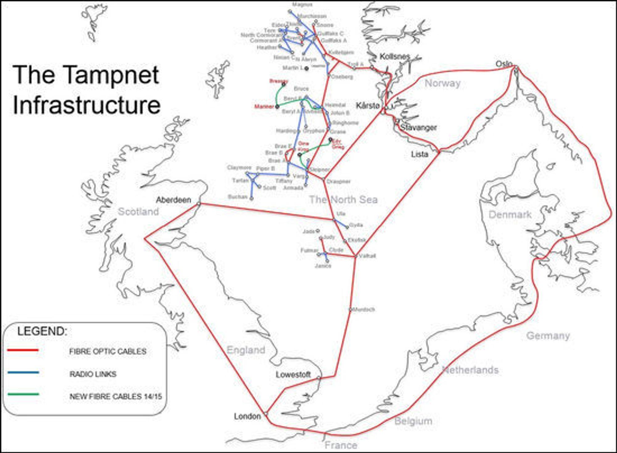 Tampnets fiber strekker seg fra Norge til England og Skottland via norsk sokkel.