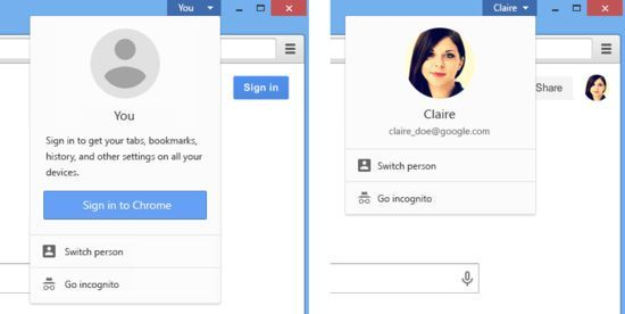 Fra «You»-menyen i Chrome 38 kan man blant annet velge mellom flere brukere av Chrome.