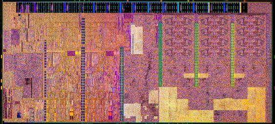 Eksempel på hvordan selve silisiumbrikken i en Broadwell-basert prosessor kan se ut.
