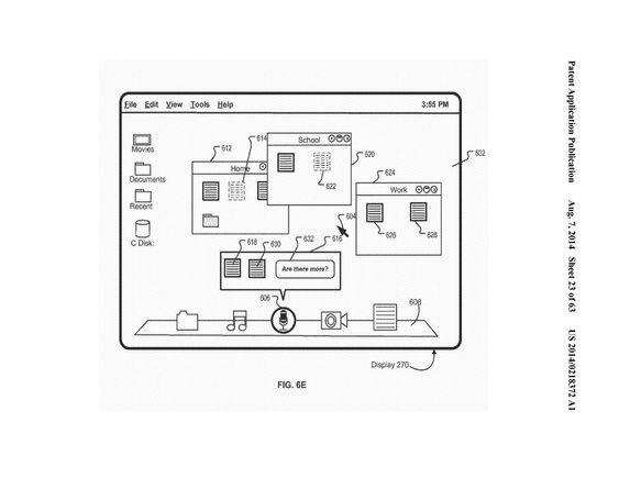 Konsepttegning som viser hvordan Siri kan fungere på Mac.