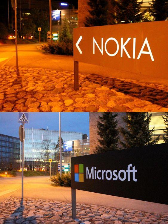 Perioden er preget av at Nokias- mobildivisjon nå er del av Microsoft. Bildet viser at selskapet har erstattet skiltet ved Nokias gamle hovedkvarter i den finske byen Espoo.