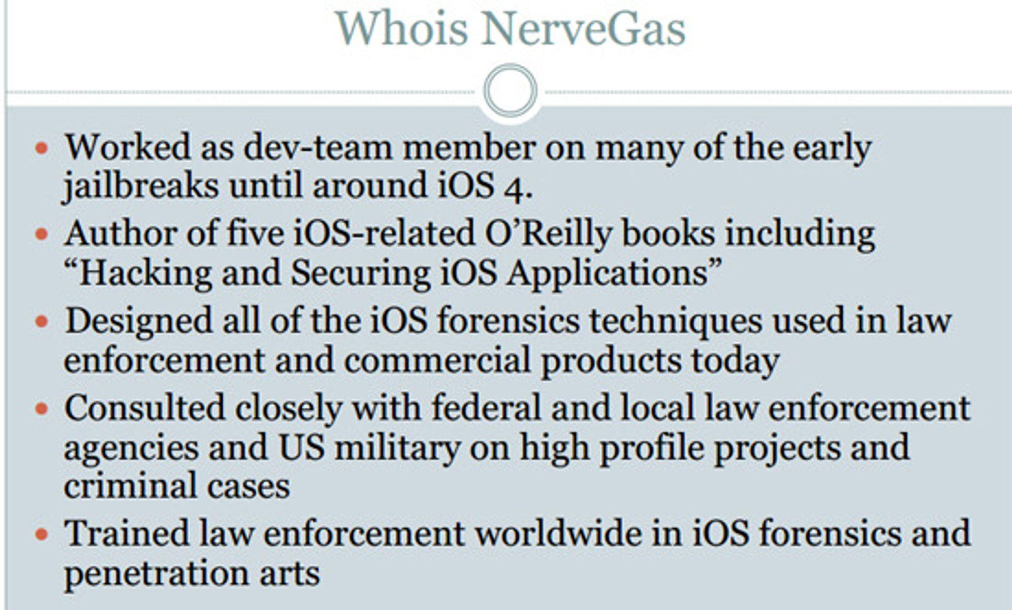 Zdziarski gjør det klart at han har lang erfaring med iOS-hacking. Følgelig burde han vite hva han snakker om.