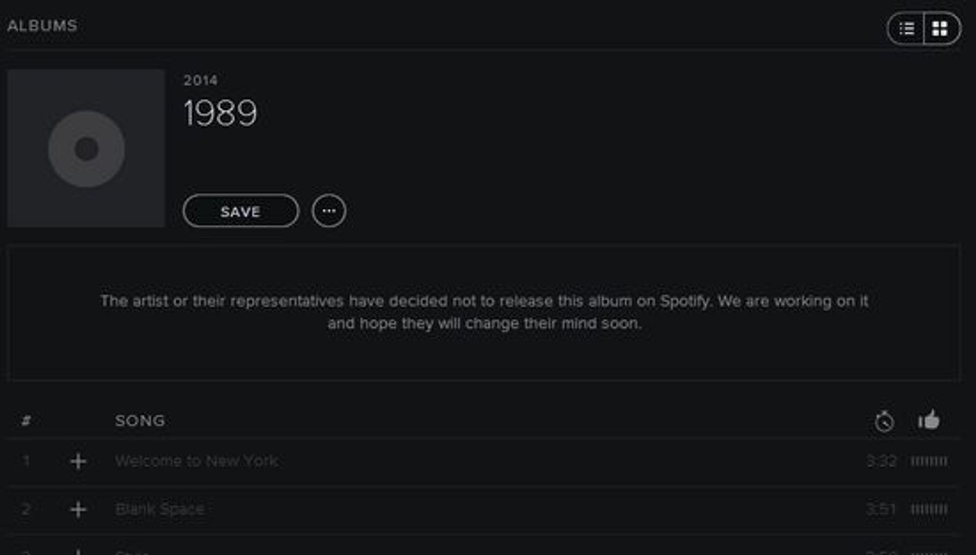 Taylor Swifts nyeste album er ikke tilgjengelig på Spotify, og tjenesten skjuler ikke misnøyen sin.