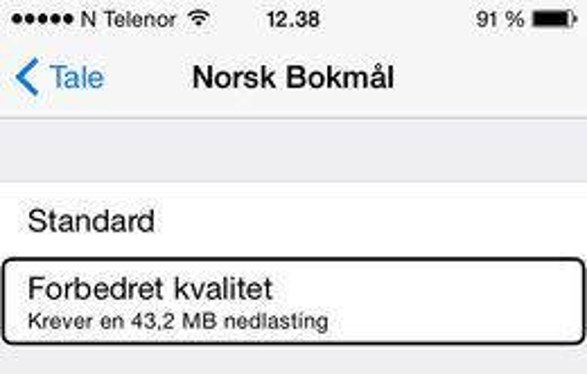 STUSSELIG: Fila som gir bedre kvalitet på norsk stemme på iPhone er nå på knappe 43 megabyte.