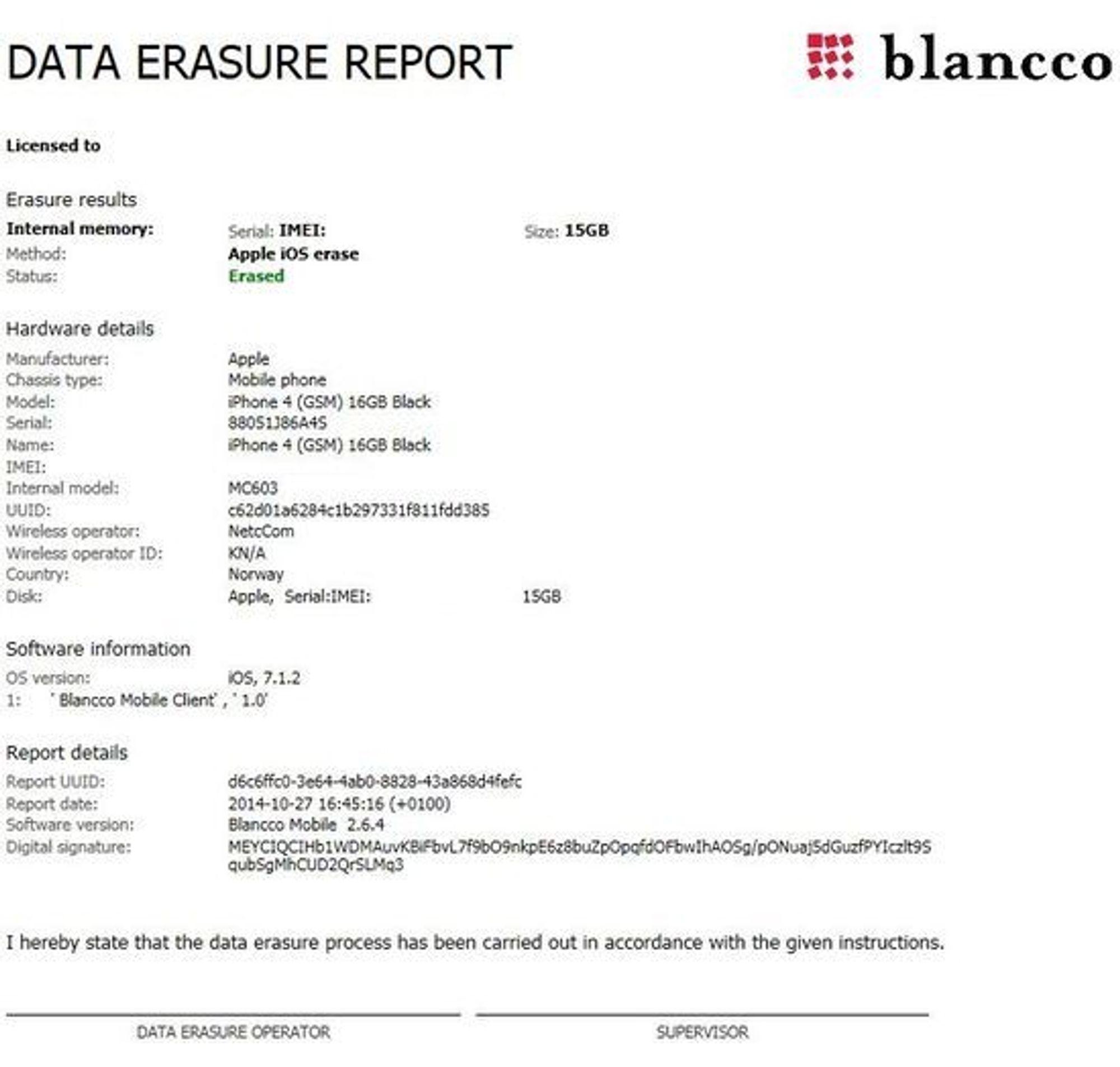 Et eksempel på rapporten som Blancco-verktøyene lager etter sletting av innholdet på en mobiltelefon.