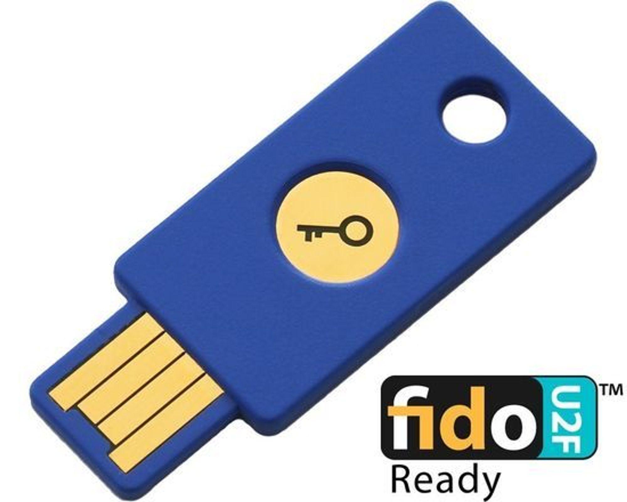 Yubicos FIDO U2F Security Key er blant sikkerhetsnøklene som kan brukes til innlogging på Google.