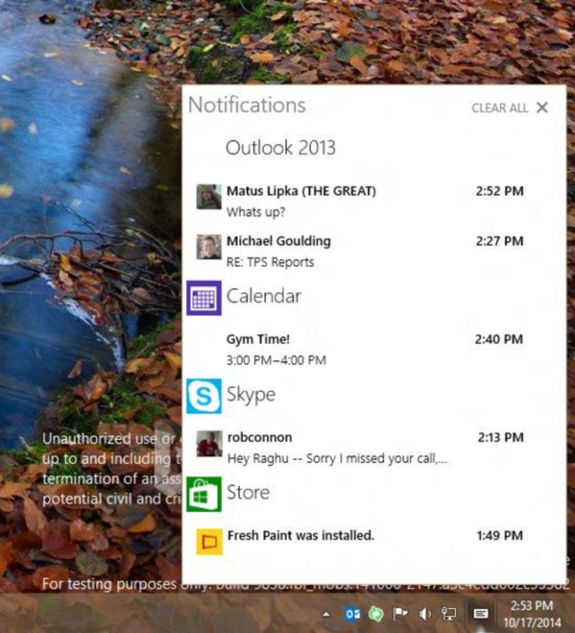 Slik ser varslingssenteret ut nå, og Microsoft lover rikere funksjonalitet og penere design fremover.