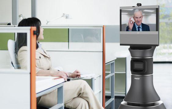 En leder kan bruke roboten til å vandre fra bås til bås og få personlig kontakt med ansatte i fjerntliggende lokaler.