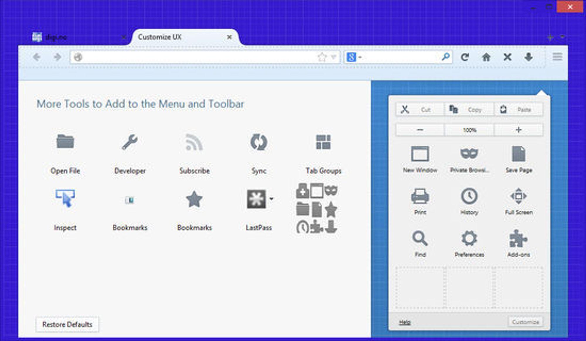 Testversjonen av det som etter hvert skal bli Firefox 25, har et omfattende brukergrensesnitt for tilpasning av nettopp brukergrensesnittet til nettleseren.