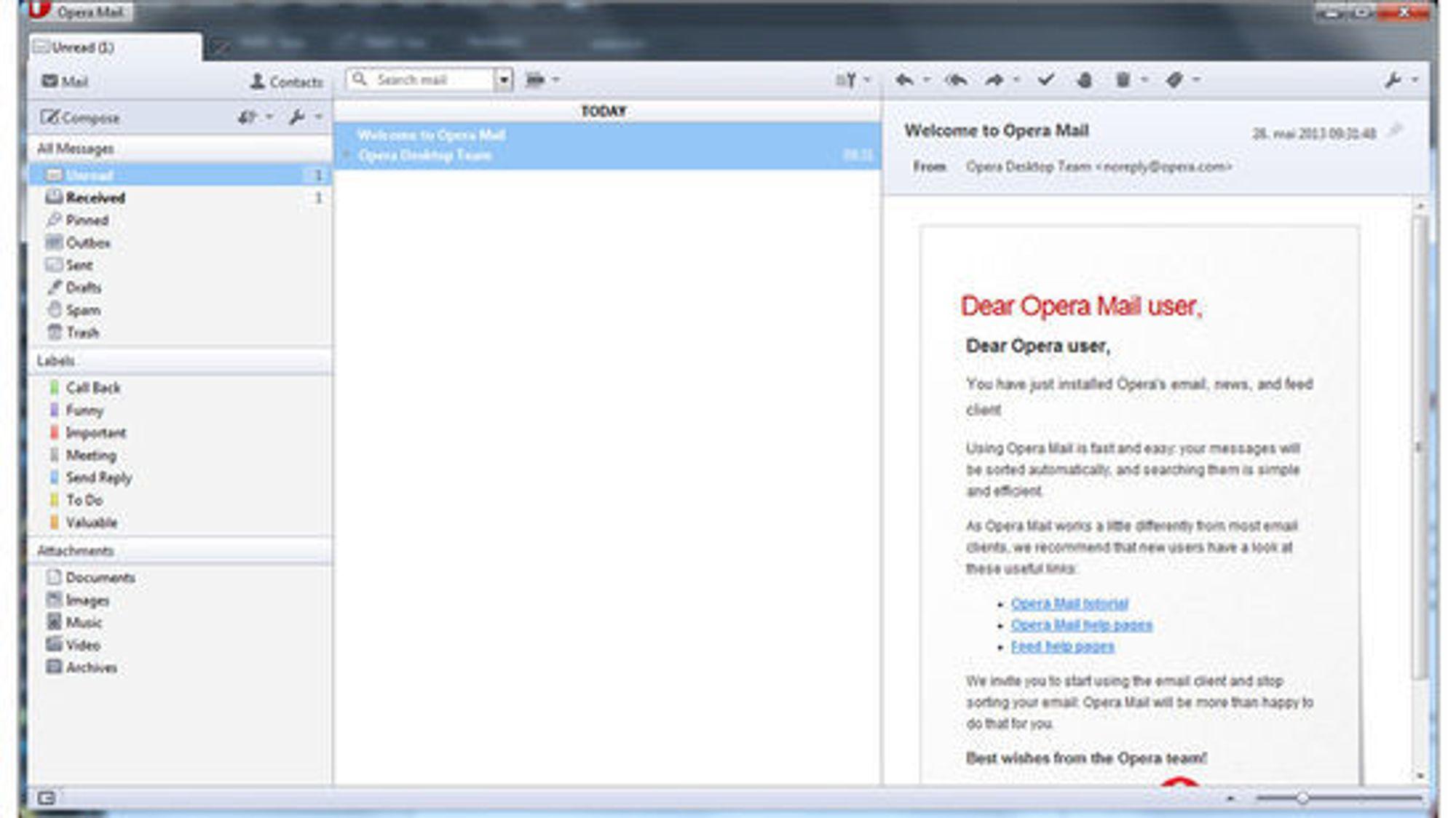 E-postklienten til Opera har nå blitt skilt ut som en separat applikasjon.