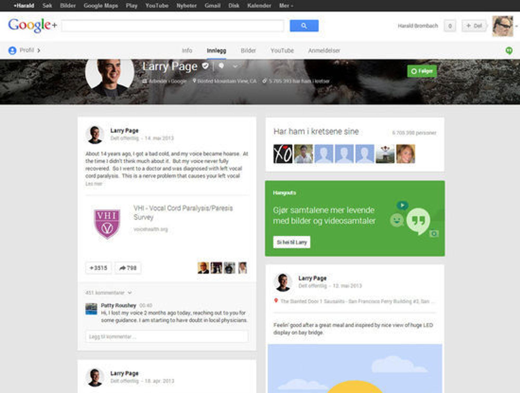 Google+-profilen til Larry Page etter redesignen. Her vist med to spalter.