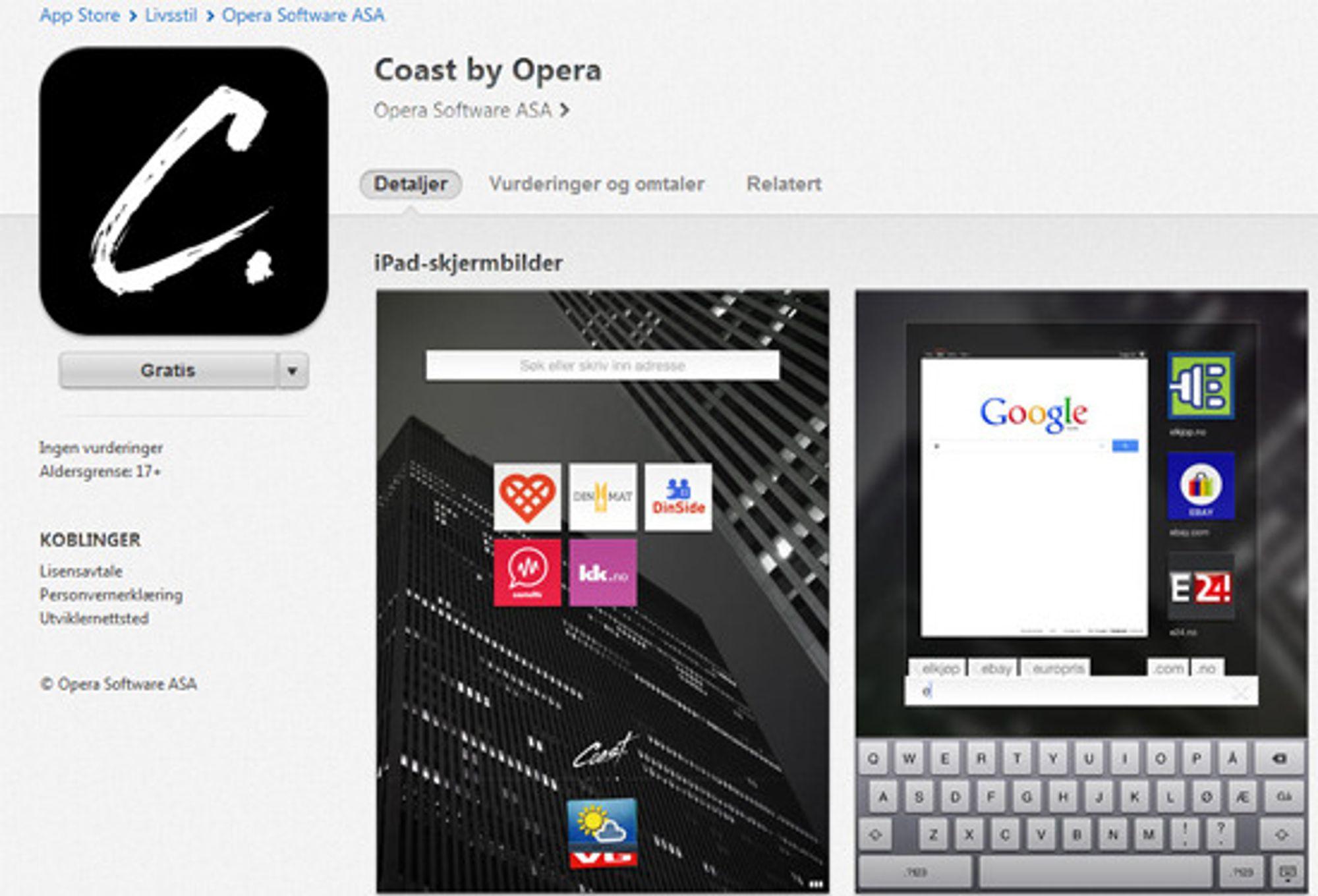 Coast by Opera er produktets fulle navn. Her ser vi skjermbilder av hjemskjermen og det kombinerte søke- og adressefeltet. Nettleseren ble utgitt i App Store til iPad nå for bare noen minutter siden.