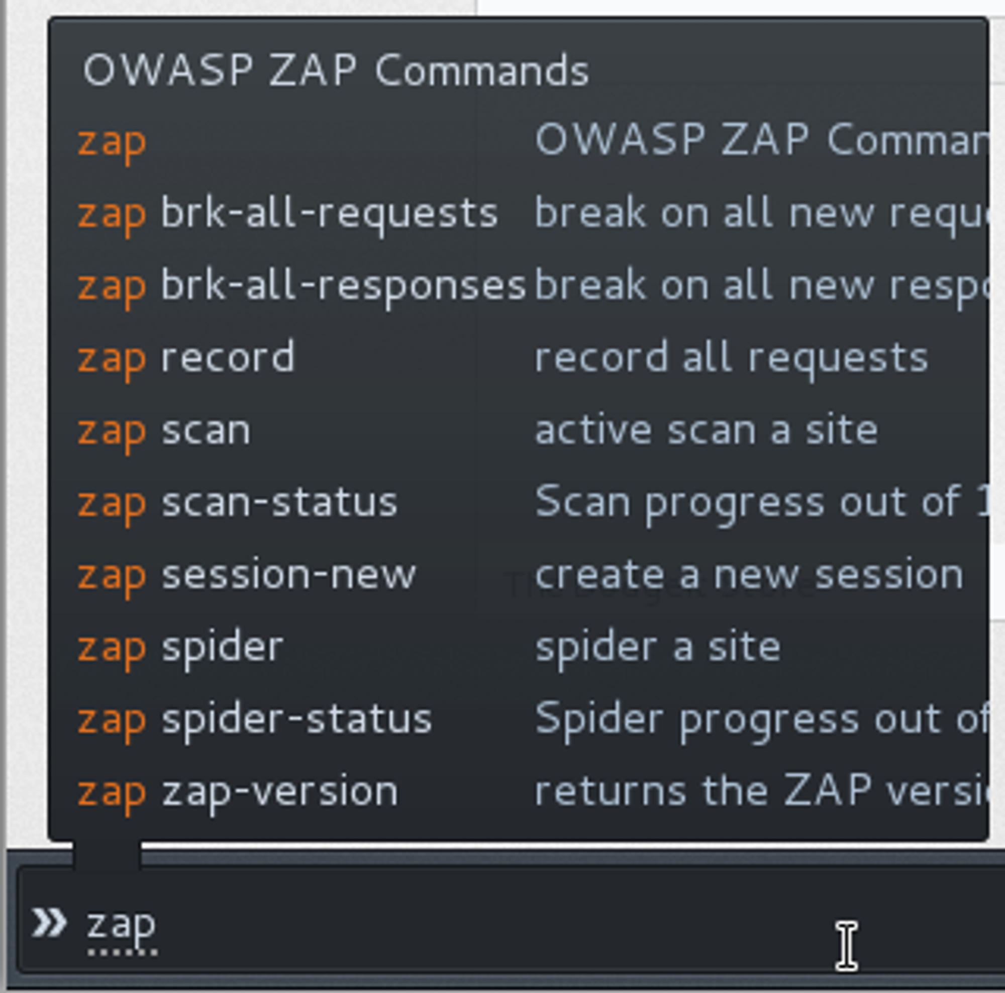 OWASP ZAP-kommandoer gjort tilgjengelige i Firefox via Plug-n-Hack-protokollen.