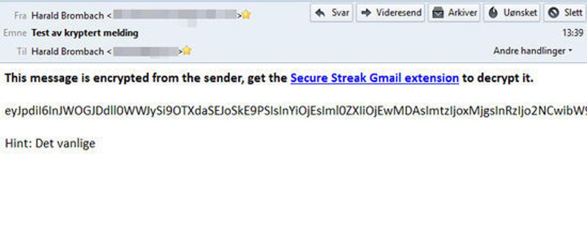Slik ser den krypterte e-posten ut for mottakeren, her i en ekstern e-postklient. Dersom e-posten er sendt til en annen e-postadresse enn den til en Gmail-konto, kan meldingen videresendes til mottakerens Gmail-konto og åpnes der.