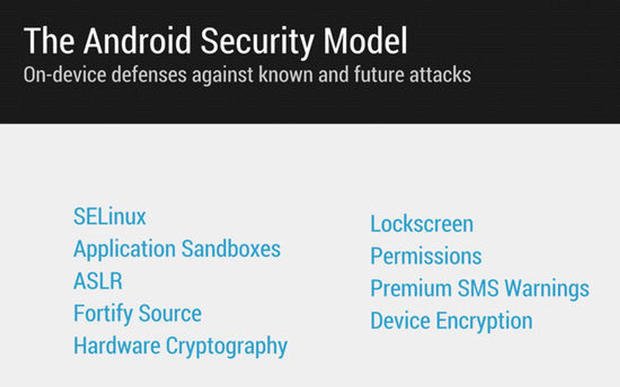 Oversikt over de viktigste teknologiene i sikkerhetsmodelle til Android.