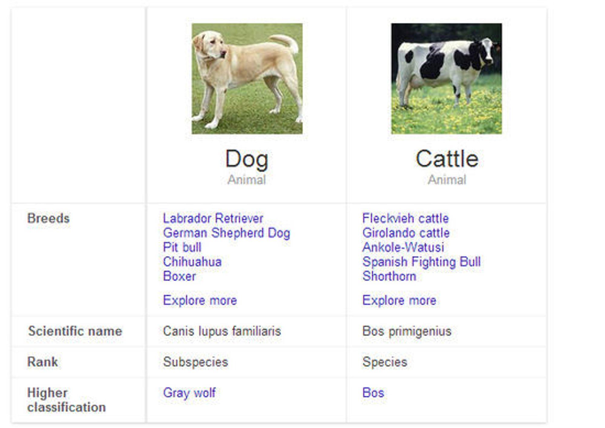 Det er nå mulig å få Google til å vise en grov sammenligning av for eksempel ulike husdyrarter.