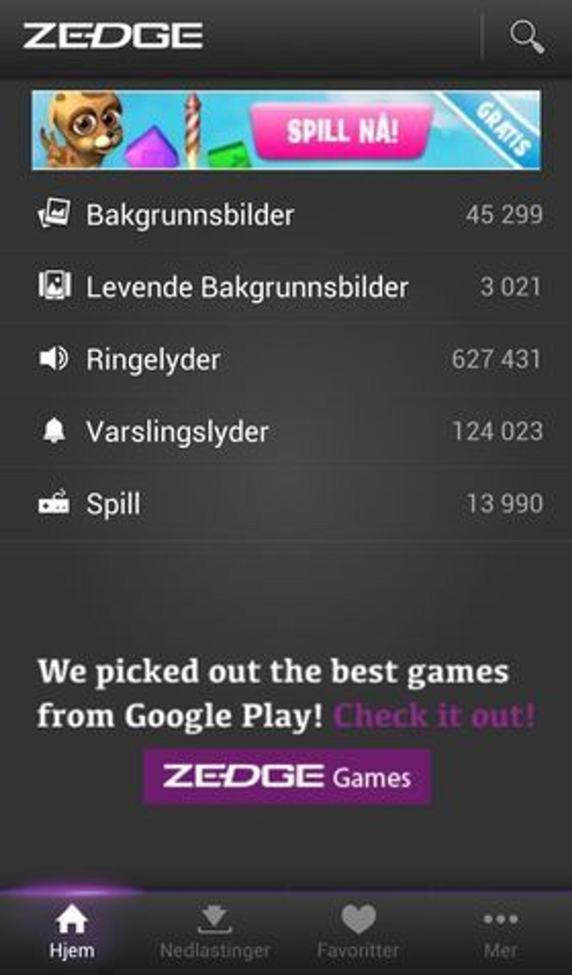 Zedge-applikasjonen, her i Android-utgaven, tilbyr brukerne svært mye gratis innhold.