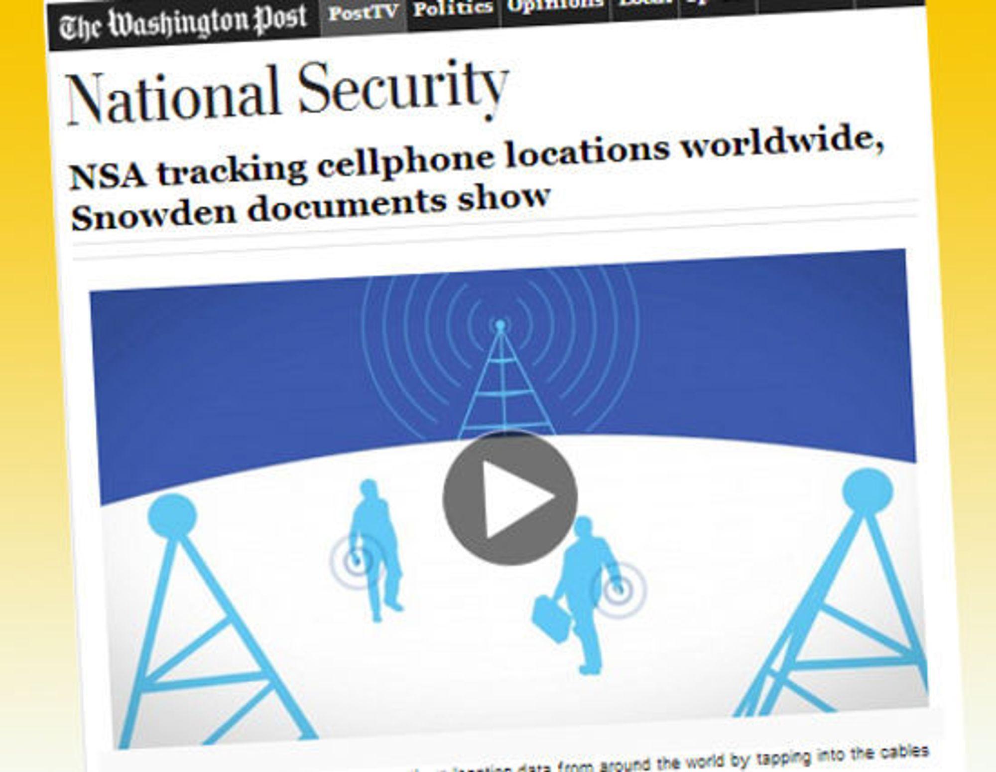 Washington Post bruker animert grafikk for å forklare hvordan NSA henter data fra basestasjoner verden over for å spore flere hundre millioner mobiltelefoner.