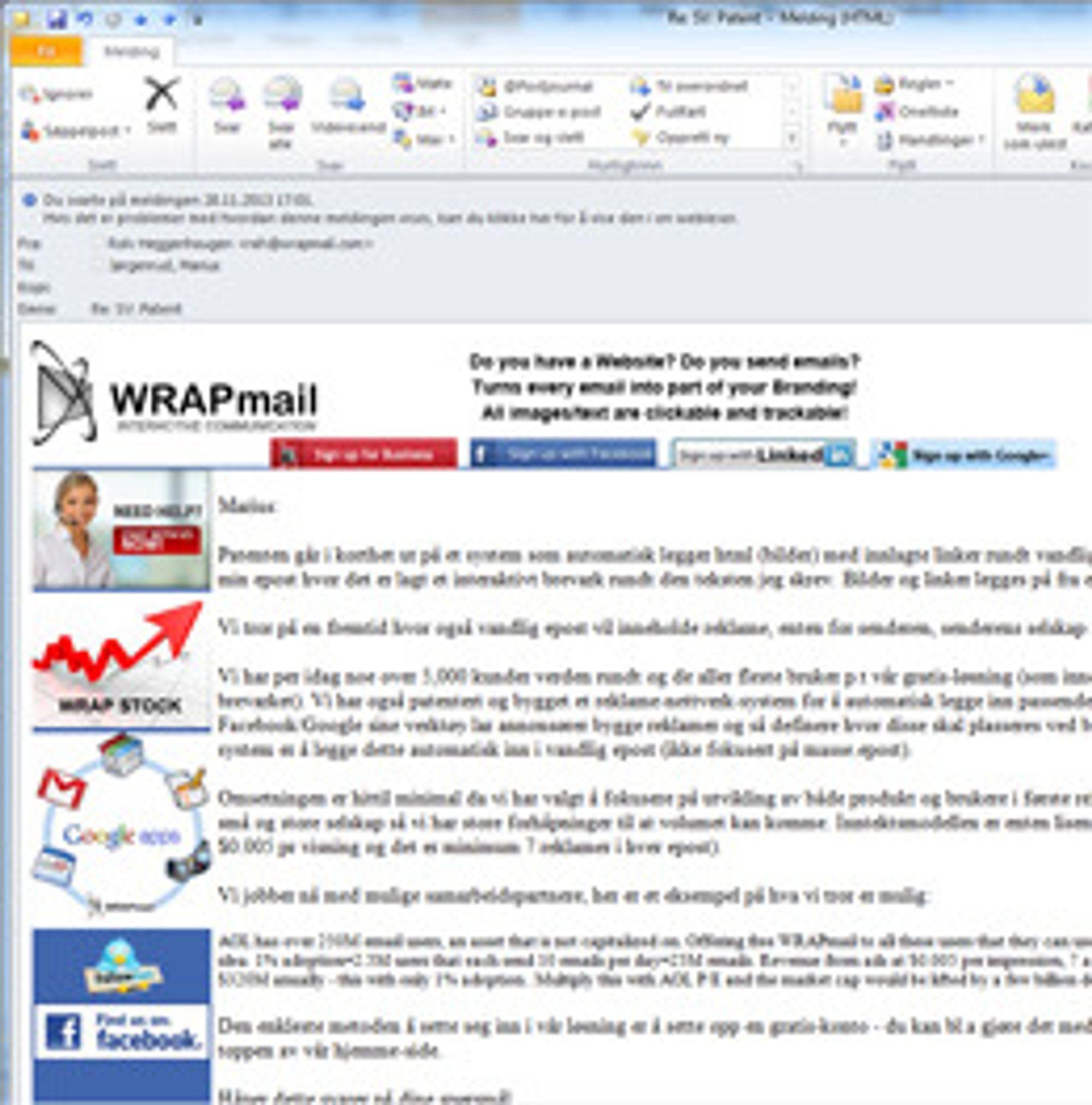 Heggenhougen benytter seg selvsagt av egen løsning også i korrespondansen med digi.no. Her ser man hvordan annonsene legges rundt tekstinnholdet.
