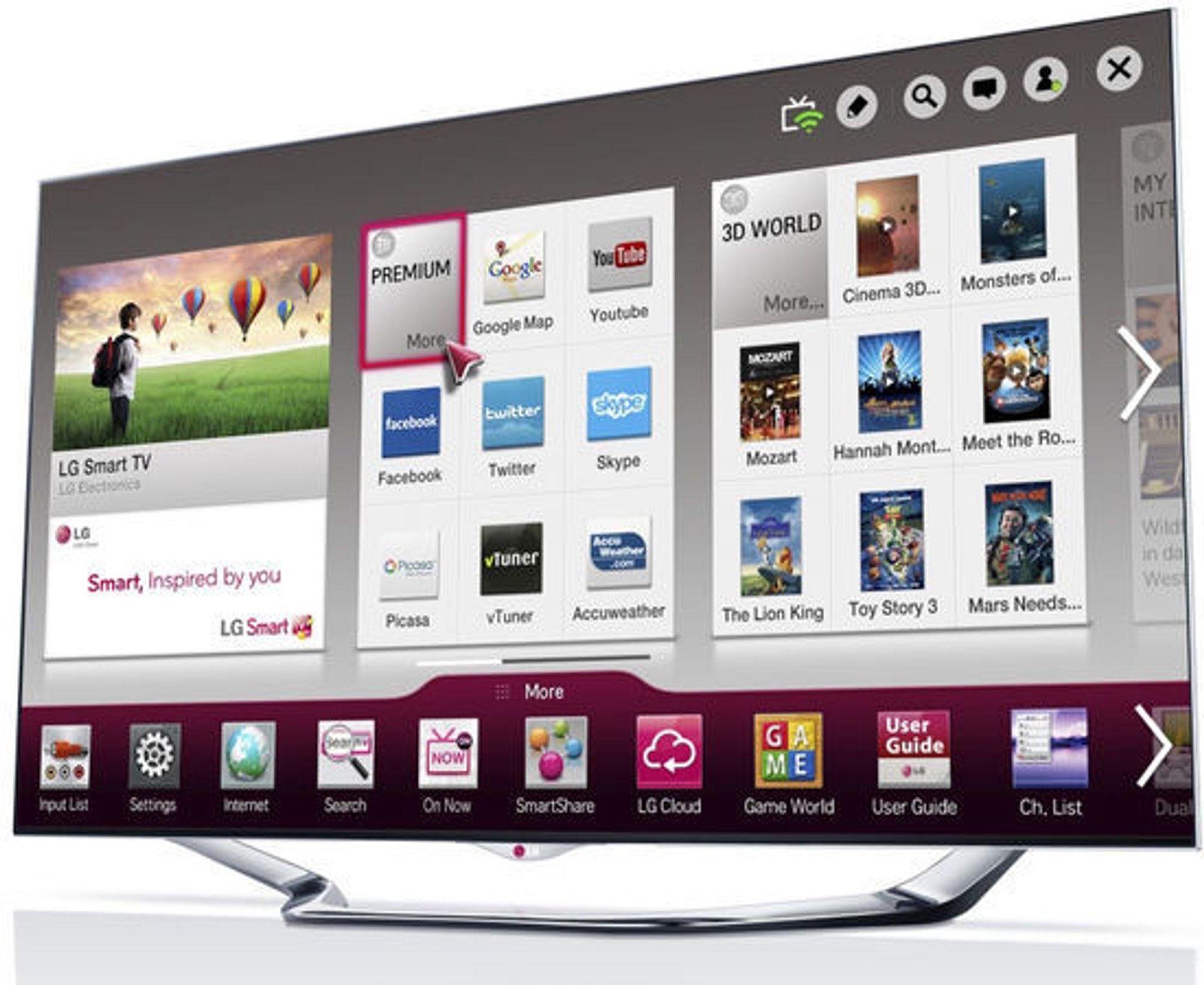 Det er LG Smart TV-grensesnittet som viser annonser og sender informasjon om brukerens tv-vaner og filnavn tilbake til LG.