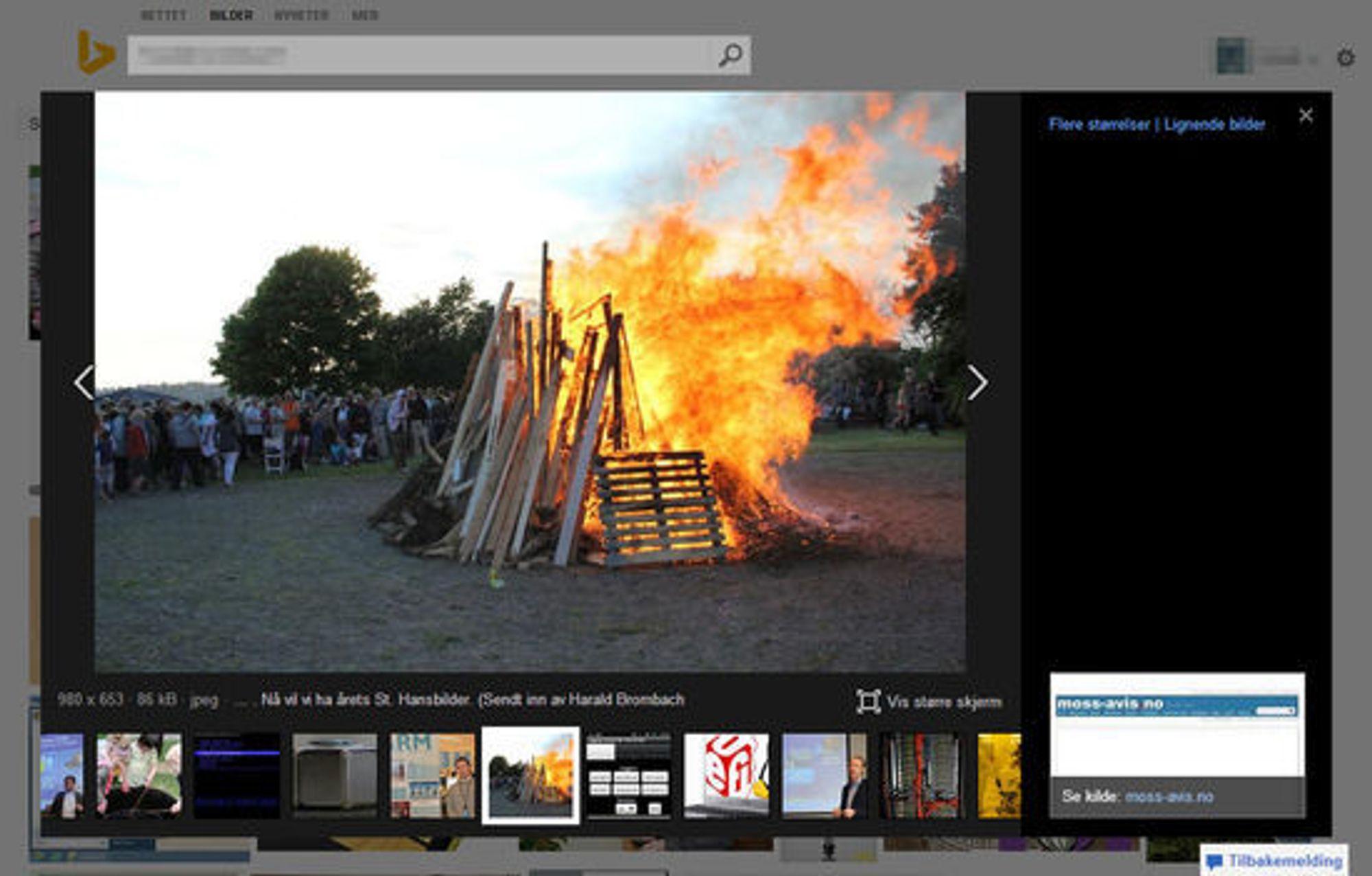Det samme søket som i toppbildet, men i stedet gjort med bildesøket til Bing.