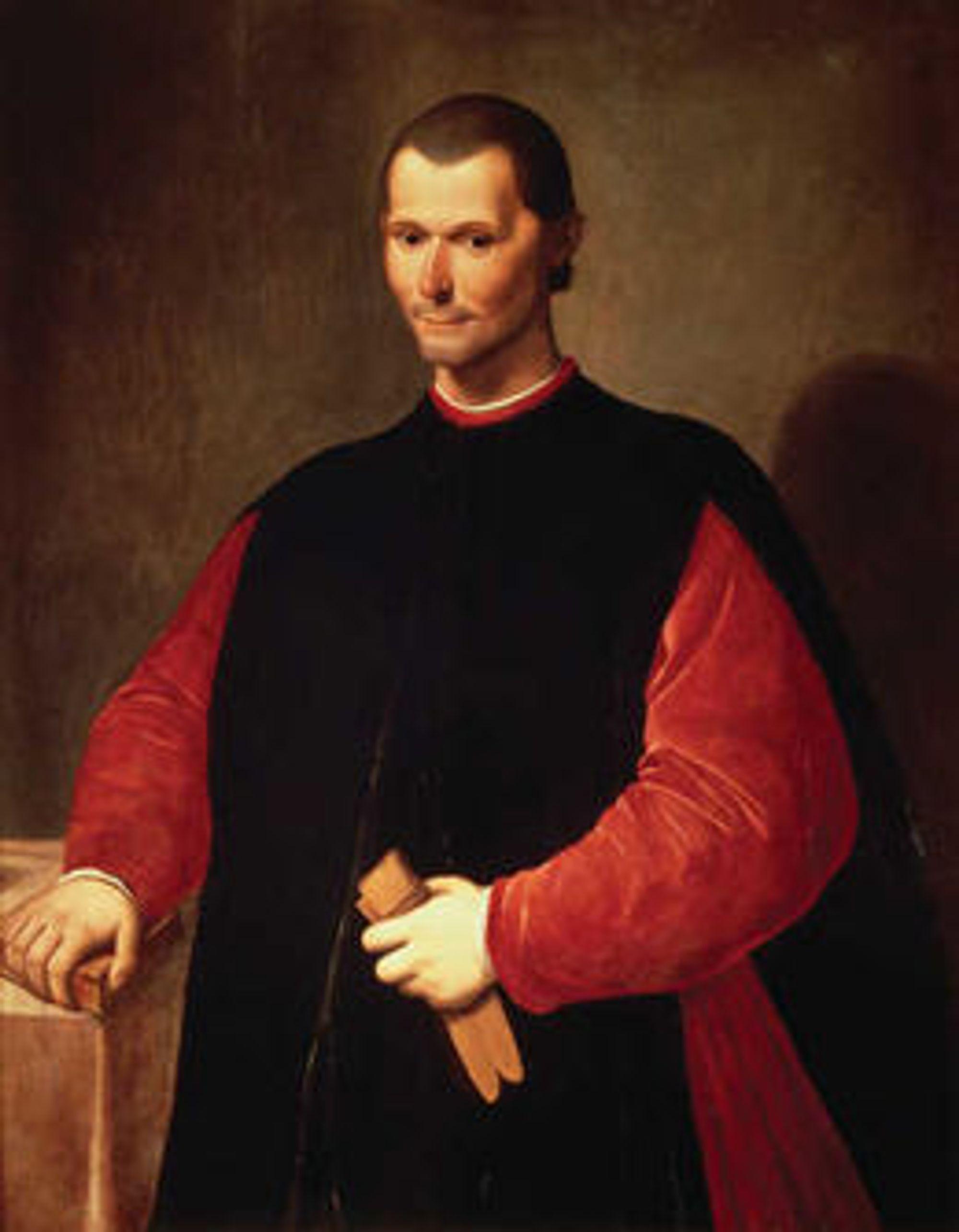Fokuset på makt framfor etikk har gjort Macchiavelli til bytte for hyklere som tilslører tilsvarende spill og metoder med ideologi. Portrettet er av Santi di Tito.