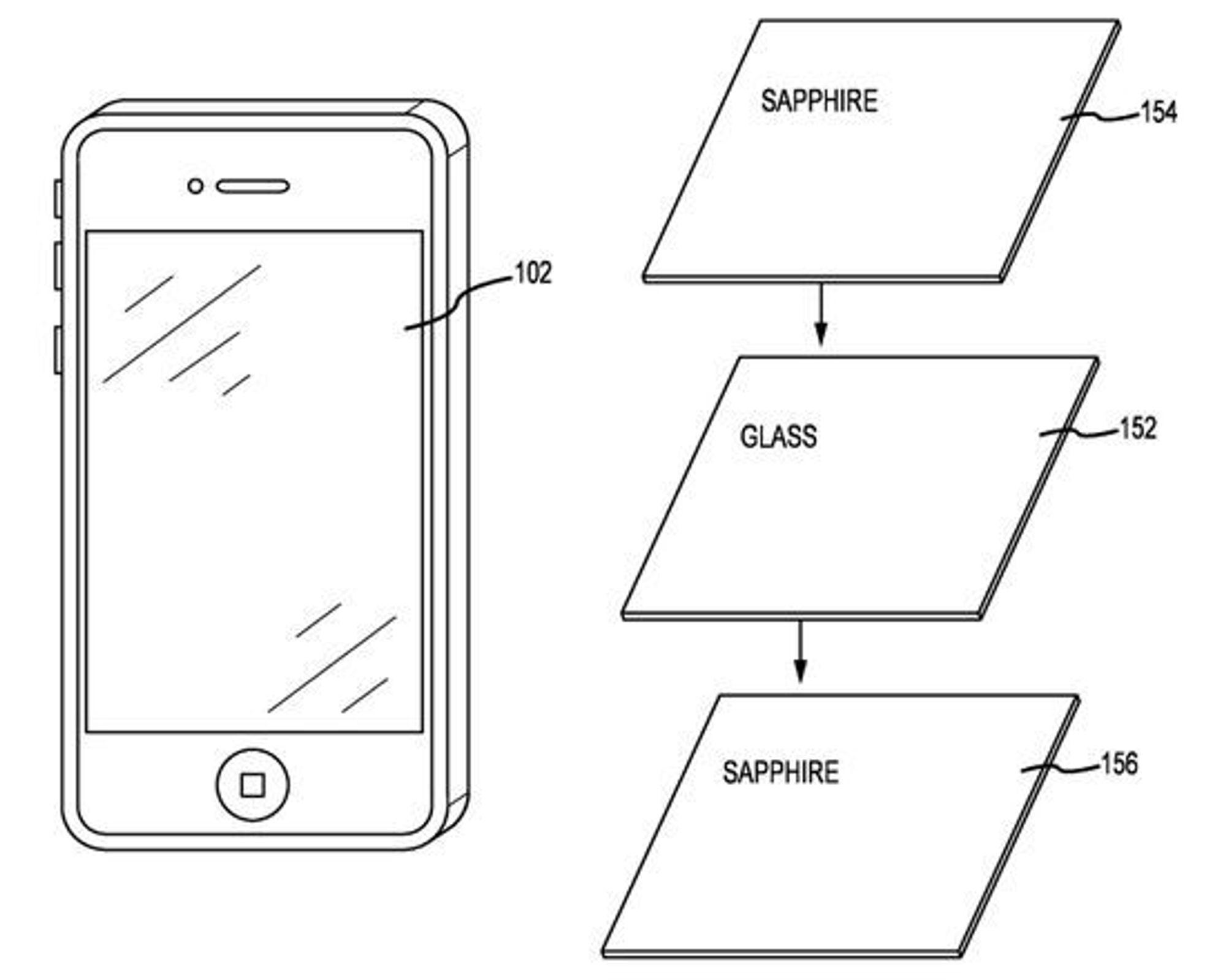 Illustrasjoner fra Apples søknad om patent på safirlaminat.