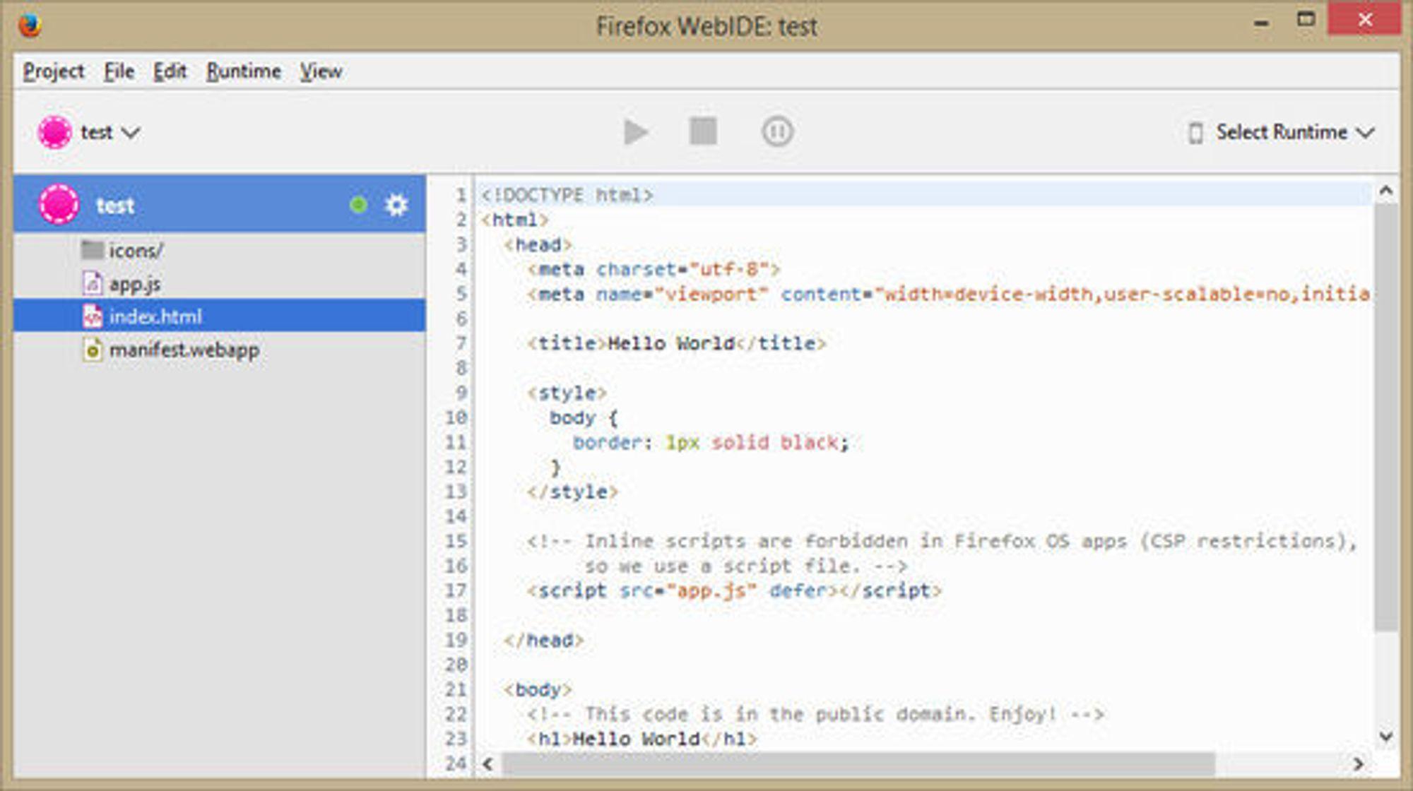 WebIDE er et nytt verktøy i Firefox for utvikling av webbaserte applikasjoner.