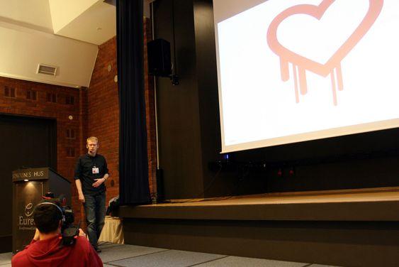 """Heartbleed, som har fått sin egen logo, er blant sårbarhetene som portskanneren til NSM kan avdekke, fortalte Jan Tore Morken - """"statusautorisert hacker""""."""