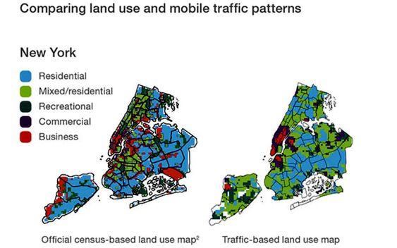 NY MÅTE Å SE VERDEN: Demografene kan får et nytt verktøy gjennom å analysere bruksmønstre i mobilnettverkene og plotte det inn i kartene slik som dette over New York. Da kan de finne ut hva folk driver med og hvor.