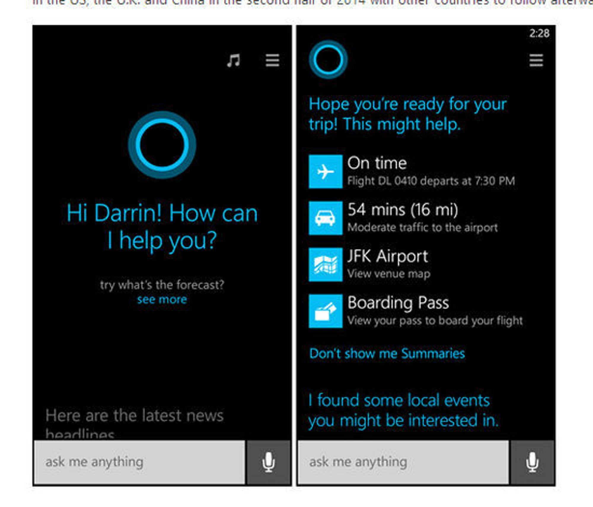Slik ser brukergrensesnittet til Cortana ut.